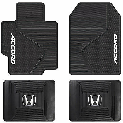 4pc Honda Accord Sport Logo Universal Black Rubber Front & Rear Mats