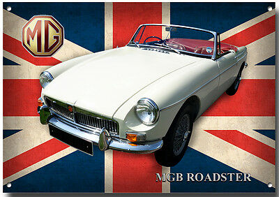 Mgb Roadster Metal Sign,high Gloss Finish,vintage/classic British Mg Cars