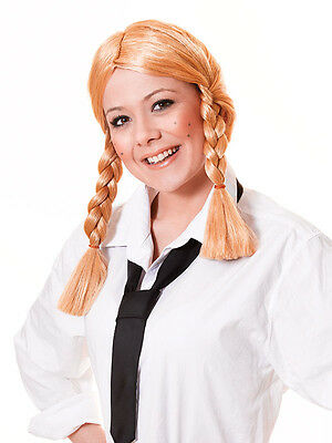 Fancy Dress Blonde School Girl Schoolgirl Plated Wig Adults Size