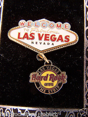 2009 Hard Rock Cafe-The Strip Las Vegas Famous Welcome Sign W/dangle Pin
