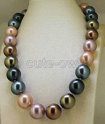 Fashion 10mm colorful genuine South Sea shell Pearl Necklace Knotted Necklace18""