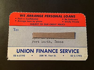 Union Finance Service 1955 Vintage Collectors Credit Card -Fort Worth, Texas