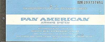 Airline Ticket - Pan American Airways System - 2 Flight Format - 1965 (T334)