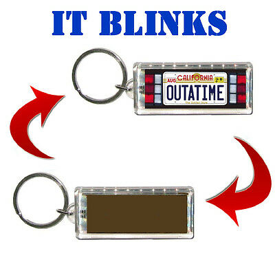 Back To The Future Outta Time Delorean Plate Blinking Solar Keychain Watch Video