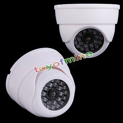 Dummy Fake Surveillance Security Dome Camera w/ 30 Flashing LED Light