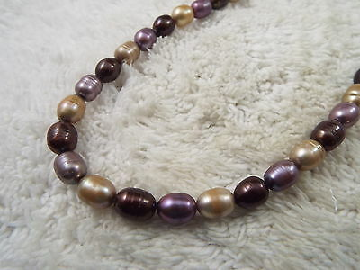 Lavender Chocolate Taupe Glazed Cultured Freshwater Pearl Necklace (A44)