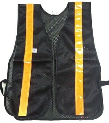 Soft Mesh Black Safety Vests with Orange Stripes