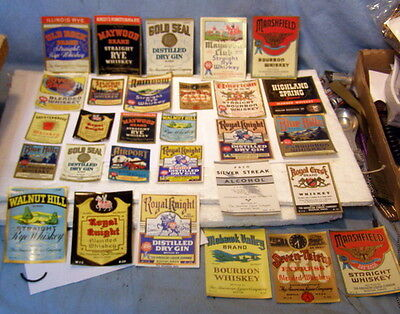 ** Lot of 29 Diff -- MINT, New Old Stock - 1940's WHISKEY & BOOZE LABELS