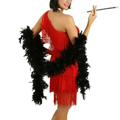 Black 2m Feather Boa 1920s Flapper Fancy Costume Dress Party