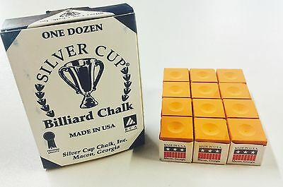 Quality USA Silver Cup Pool Snooker Billiard Cue Tip Table Chalk ORANGE
