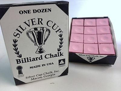 Quality USA Silver Cup Pool Snooker Billiard Cue Tip Table Chalk PINK 12 Blocks