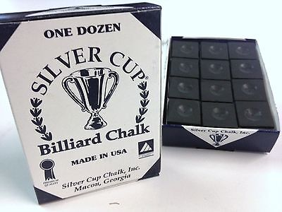 Quality USA Silver Cup Pool Snooker Billiard Cue Tip Table Chalk Black in Colour