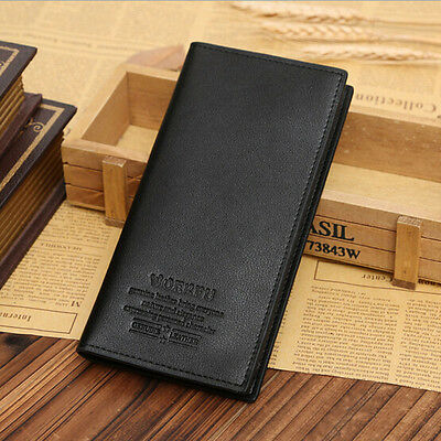 New  Mens Long Casual Leather Wallet Pockets Card Clutch Cente Bifold Purse L7S