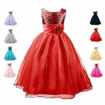 Girls Sequinned Dress Flower Princess Sash Sleeveless Party Wedding Bridesmaid