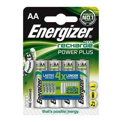 4 x Energizer AA Rechargeable Batteries 2000 mAh NiMh AA LR6 MN1500 Size