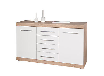 Kommode Sideboard weiss / Sonoma Eiche Woody 148-00460
