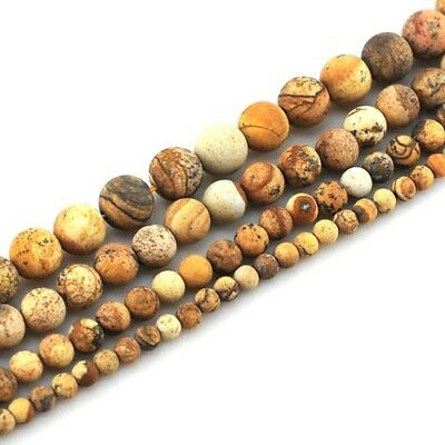"Wholesale Natural Picture Jasper matted Round beads Spacer 15"" 4mm 6mm 8mm 10mm"