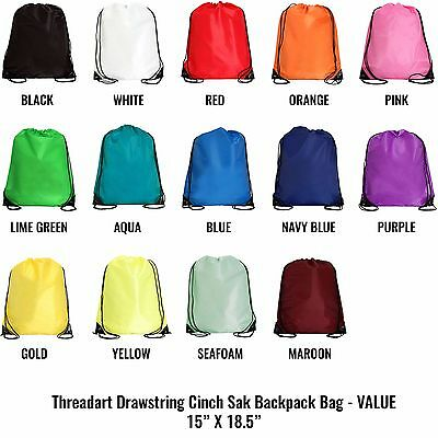 "Drawstring Cinch Backpack Cinch Sack Bags Promotional VALUE 15""x18.5"" 14 Colors"