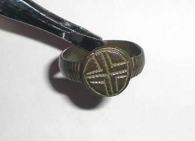 Ancient Byzantine Empire, 8th - 10th c. AD. Bronze Ring. Cross