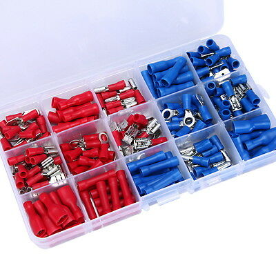 200Pcs Wiring Terminals Crimp Connectors Assorted Insulated Electrical Spade Set