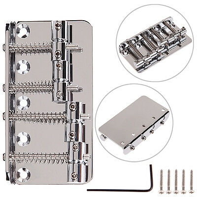 New Chrome Vintage Style Bridge 4-String For Fender Jazz Bass Guitar + 4 Screws