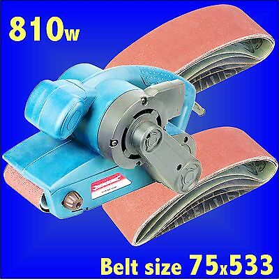 Silverline 810w 76mm Electric Belt Sander 75x533mm sanding belts 40 60 120 mixed
