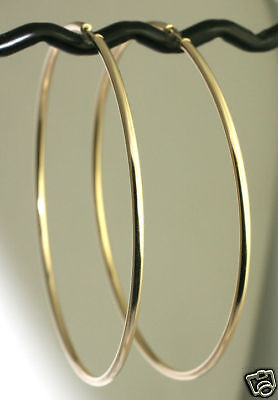 "COUTURE 3.2g Solid 14K Yellow Gold  HUGE 3"" Endless Hoop Earrings 75x2mm"