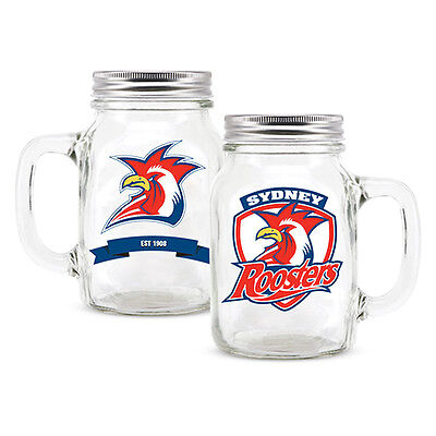 NRL Sydney Roosters TEAM Glass Mason Jar With Handle Fathers Day Man Cave Gift