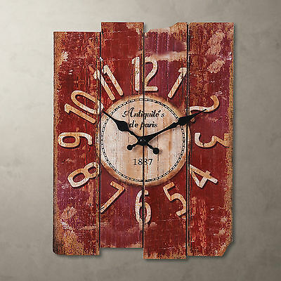 "15"" Antique Vintage Wooden RED/Blue Clock Wall Country Large Art Home Decor"