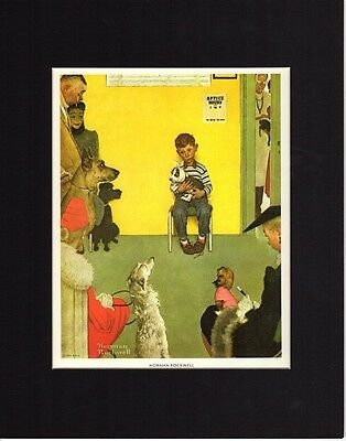 Veterinarian Office Norman Rockwell Reprint Matted Dogs