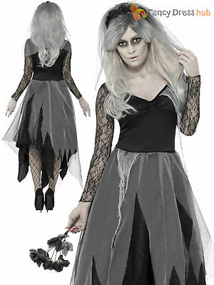 Ladies Zombie Corpse Bride Costume Womens Halloween Fancy Dress Plus Size Ghost