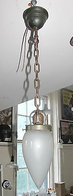 Antique Pendulum Light In Original Finish With Frosted Bullet Shade (3239)