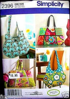 Simplicity 2396 Pattern SWEET PEA TOTES BAGS 2 Styles UNCUT FF