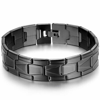 Classic Black Stainless Steel Wrist Band Link Chain Men Bracelet Cuff 8.3""