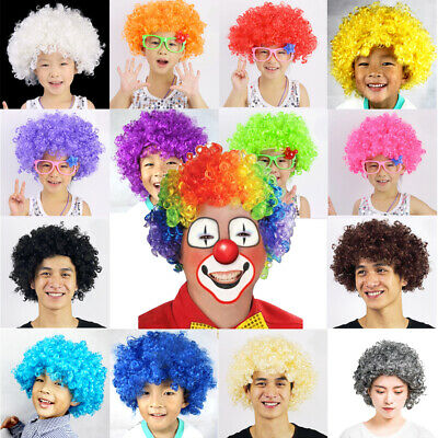 Multi Color Afro Wig Clown Disco Circus Costume Curly Hair Wig Adult Child