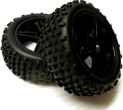 06010 1/10 Scale Off Road RC Buggy Front Wheels and Tyres x2 Black 5 Spoke HSP