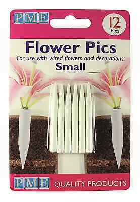PME 12pk SMALL Flower Floral Picks Pics Sugarcraft Flower Holder Cake Decorating