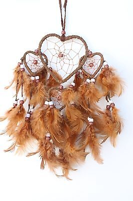 Brown Heart Shaped Dream Catcher Handmade Leather Feather Car Home Wall Decor
