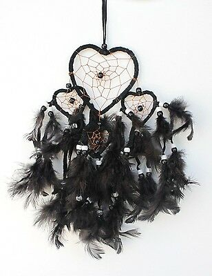 Black Heart Shaped Dream Catcher Handmade Feather Home Car Wall Decor ( Qty 2 )