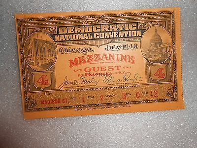 Vintage 1940 Chicago Democratic National Convention Mezzanine Guest Ticket