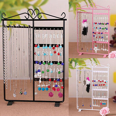 Earring Ear Stud Jewelry Necklace Display Rack Metal Stand Holder Organizer