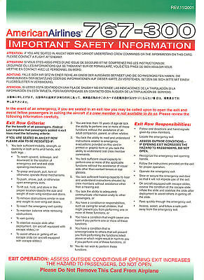 Safety Card - American - B767 300 - 11/01 (S1890)
