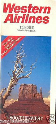 Airline Timetable - Western - 01/03/87 - Monument Valley photo cover