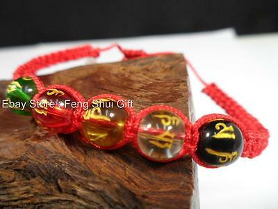 Faceted Crystal Ball Feng Shui Jewelry Five Element Bead Protection Bracelet #Rf