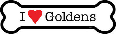 "I Heart (Love) Goldens (Golden Retriever) Dog Bone Car Magnet 2"" x 7"""