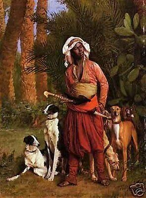 """Art Repro oil painting:""""Arabian man and dog at canvas"""" 24x36 Inch"""