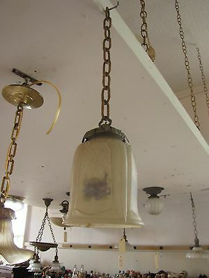 Antique Frosted Etched Reverse Painted Shade W/ French Brass Fitter (3250)