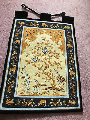 Stunning Needlepoint Tapestry Wall Hanging Handmade Black Gold Gray Brown WOW