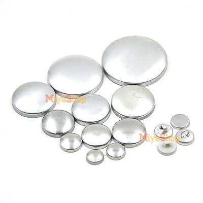 Metal Fabric Covered Cover Buttons Aluminum Flat Plastic Wire Back DIY