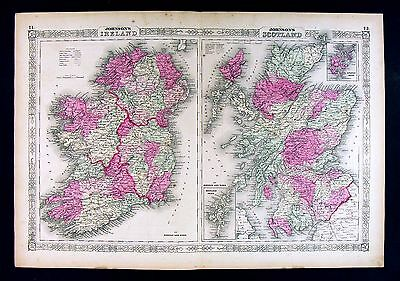 1864 Johnson Map Ireland & Scotland Edinburgh Aberdeen Dublin Munster Loch Ness